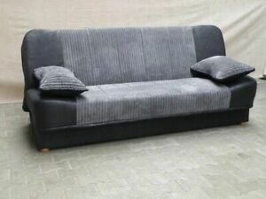 New Sonia Click Clack Sofa bed 2 Tone Grey or Beige , Fabric 3 seater DOUBLE BED