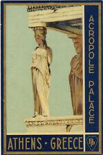 ATENE ATHENS GREECE ACROPOLE PALACE ETICHETTA PER VALIGIA ORIGINALE LABEL