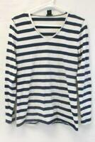 Ann Taylor Blue White Striped Long Sleeve Top Women's Size Medium V Neckline