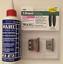 WAHL 2 HOLE T-SHAPED TRIMMER BLADE WIDE +4.OZ OIL 785257-#1062-UPC, 043917106205