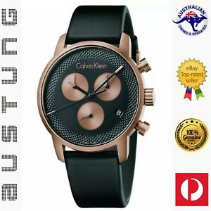 CALVIN KLEIN City Chronograph Quartz Black Leather Men's Watch K2G17TC1