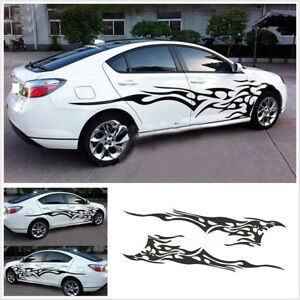 Car Racing Body Side Black Flame Decorative Vinyl Decal Graphics Strips Sticker