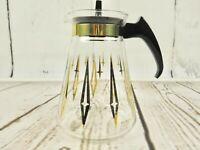 Vintage 6 Cup Corning Glass Coffee Pot Decanter Carafe Syrup Warmer Pyrex Atomic