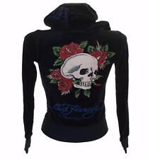 New Women's Girls Ed Hardy Velour Tracksuit Top Jacket Xsmall Black RRP$125