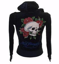 New Women's Girls Ed Hardy Velour Tracksuit Top Jacket Xsmall Black RRP$125