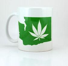 Washington State Marijuana Leaf - 11 oz Ceramic Coffee Cup Mug Cannabis Dabs Oil