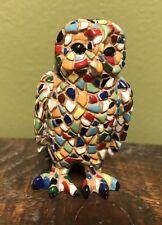 "BARCINO Mosaic Owl Figurine - Hand Painted 2 1/2"""