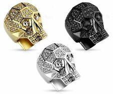 Crystal Paved Faceted Skull Stainless Steel Band Ring Silver Gold Black Closeout