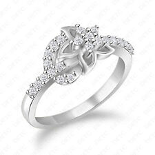 925 Silver Occasional Ring Size 4-12 Floral Diamond Cut 14K White Gold Finish