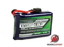 Nanotech 500mAh 1S 1 Cell 3.7V 25~50C Lipo Battery Pack Losi Mini Compatible