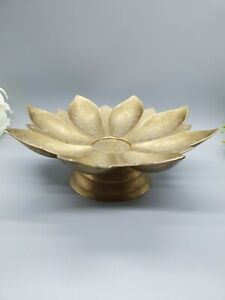 Brass Flower Etched Footed Plate Made In India. Heavy Older Piece