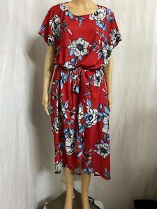 LORRAINE SIZE 16 RED FLORAL WRAP  DRESS