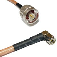 RG142 Silver N MALE to SMA MALE ANGLE Coax RF Cable USA Lot
