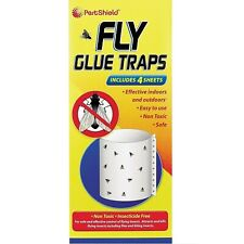 4 Fly Glue Traps Sticky Non Toxic Sheets Insect Midge Pest Control by PestShield