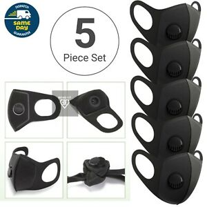 5 X Breathable Air Flow Mask Washable Face Mouth Protection With Filter UK