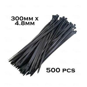 500 x Bulk Cable Ties Zip Ties Black 4.8mm x 300mm