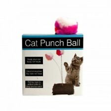 Cat Punch Ball Toy with Furry Base pet play scratch Interactive Fun Fleece NEW