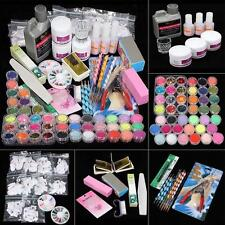 New Acrylic Powder Glitter Nail Brush False Finger Pump Nail Art Tool Kit Set TR