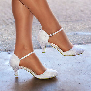 WOMENS IVORY WHITE LACE LOW KITTEN HEEL FULL TOE STRAPPY BRIDAL WEDDING SHOES