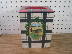 Golfer / Plaid Handpainted Distressed Wood Tissue Box Cover - Two's Company