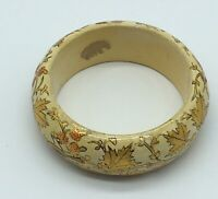 Wood Bangle Hand Painted Wine Red /& Gold Flowers