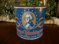 Vintage Tobacco Tin George Washington Pipe Great American NO LID Rusty Red Blue