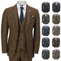 Mens 3 Piece Tweed Suit Herringbone Check Retro Peaky Blinders Tailored Fit