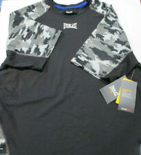 EverDri Compression Fit Short Sleeve Black/Digital Camo Tee- Everlast Size L Nwt