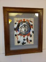 Vintage Native Wolf Paint By Number Painting Professionally Framed