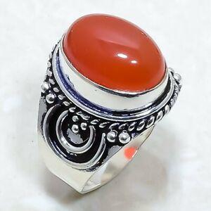 Carnelian Gemstone Handmade Ethnic Silver Jewelry Ring Size 7 RLG7826