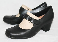 NWOB CLARKS ARTISAN 26102221 Sugar Palm Wo's 6M Black Leather Mid-Heel Mary Jane