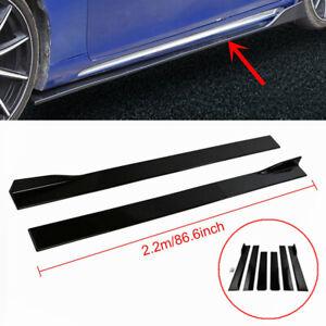 For Honda 86.6'' Black Side Skirt Extension Rocker Panel Splitters Lip Protector