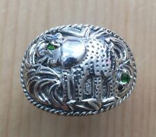 GENUINE PERIDOT STONE STERLING SILVER ELEPHANT RING #7