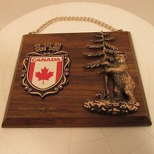 "Vintage Wood Canada Warterton Park Hanging Plaque w/Bear Canadian 7""X6"" T"