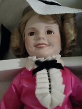 "Danbury Mint Shirley Temple Porcelain Doll With Stand Box 15"" Hot Pink Dress"
