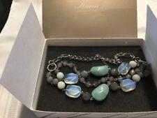Lia Sophia Kiam Collection South Pacific Stone 3 Strand Necklace W/box *