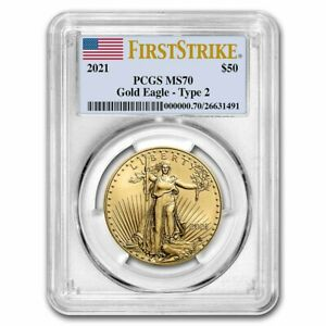 2021 1 oz American Gold Eagle MS-70 PCGS (FirstStrike®, Type 2)