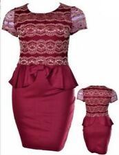FD5 New Womens Red Wine Size 16/18 Cocktail Party Evening Spring Race Lace Dress