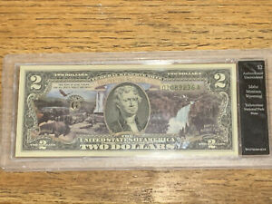 $2  YELLOWSTONE NATIONAL PARK OVERPRINT -COLORIZED TWO DOLLAR BILL