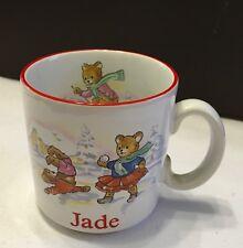 "NEW! Collectable Teddy Winter-Scene White/Multi Pot Mug for ""Jade"" Ideal Gift"
