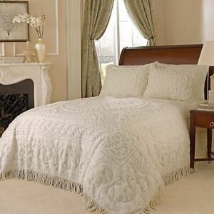 CHENILLE MEDALLION BEDSPREAD Ivory 100% COTTON Twin Vintage