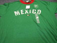 New Retro Mexico Futbol Soccer Ringer T-Shirt Green Size Xl