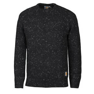 Carhartt WIP Anglistic Sweater Speckled black - Strick Pullover aus Lammwolle
