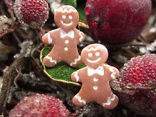 Ohrringe Ohrstecker Lebkuchenmann Handmade Fimo silber Weihnachten ginger bread