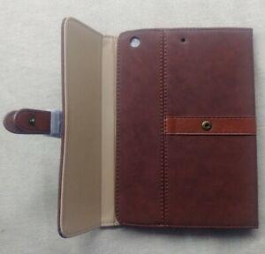 Leather Stand Folio Cover for Apple iPad Mini Flip Slim Luxury Case Brown