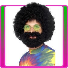 Mens Groovy Dude Afro Wig & Beard Set Hippy Hippie 60s 70s Alan Hangover Costume