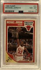 1989 Fleer Michael Jordan Chicago Bulls #21 PSA 8 NM-MT ,(B193)