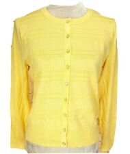 Charter Club Yellow Button Up Cardigan Sweater Crew Neck Women Petite Size PL