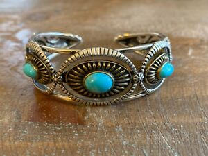 Fritz Casuse Sterling Silver and Brass Turquoise Cuff / Bracelet Size Average