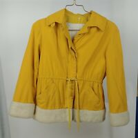 Womens Vintage Belted Yellow Jacket with White Fuzzy Trim - Tag Size 54